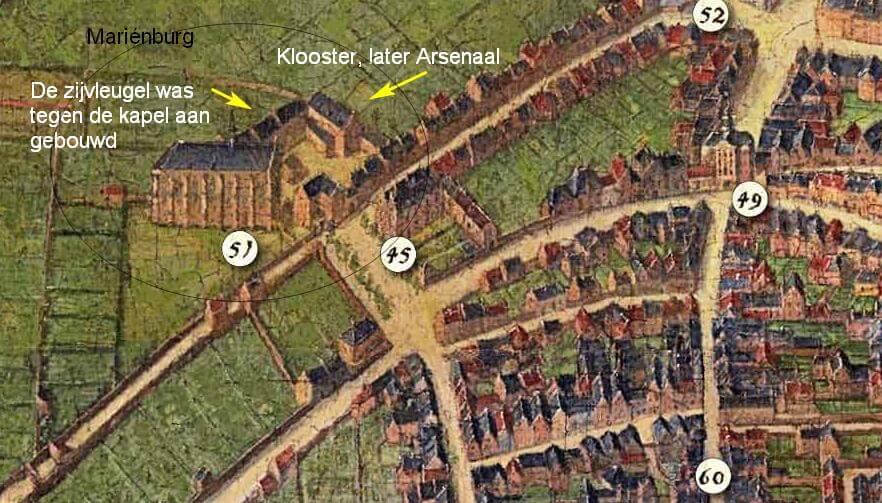 Mariënburg,  kapel en Arsenaal Nijmegen plm. 1670