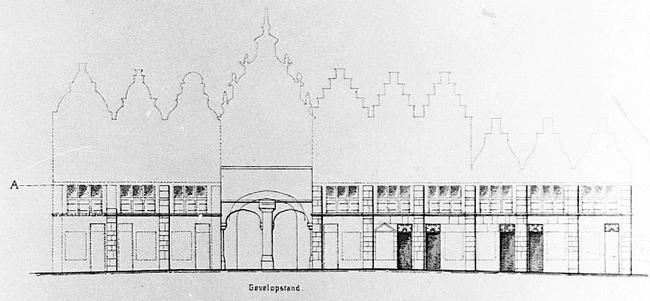 Tekening van de prceelsindeling voormalige lakenhal Nijmegen