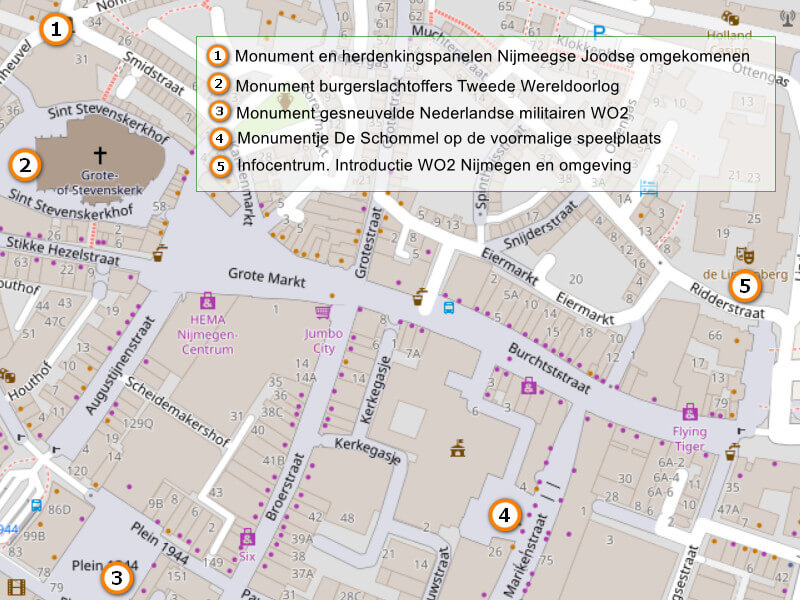 Kaartje met de herdenkingsmonumenten in het centrum van NIjmegen