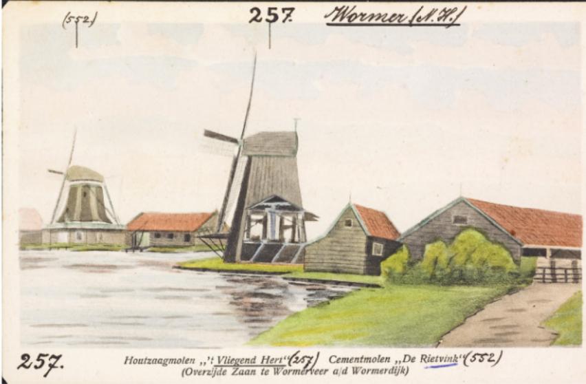 Molen de Rietvink (links). Afb. Gerrit Mol,  dank aan F. Rol