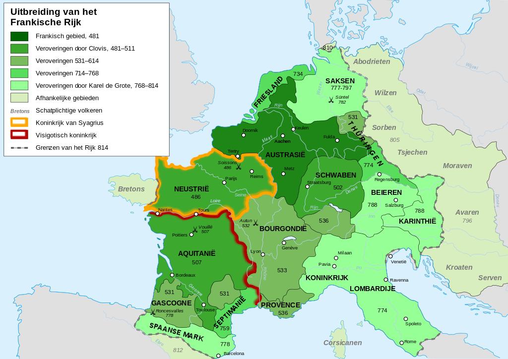Uitbreiding van het Frankische rijk in Nederland Bron: Wikipedia